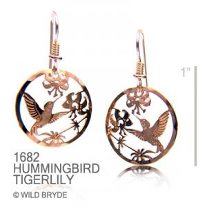 Wild Bryde Hummingbird and Tiger Lilies Earrings