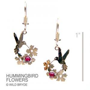 Wild Bryde Hummingbird with Garnet Earrings