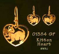 Wild Bryde Heart Shaped Cat Earrings