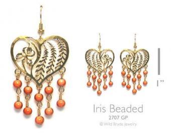 Wild Bryde Heart Shaped Beaded Iris Earrings