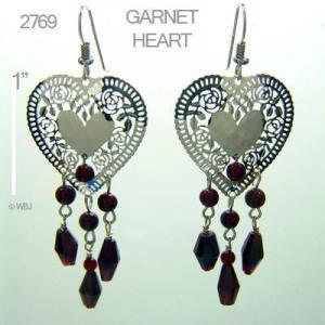 Wild Bryde Fancy Heart and Garnets Earrings