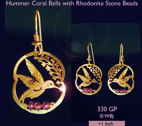 Wild Bryde Hummer Coral Bells, Rhodenite Earrings