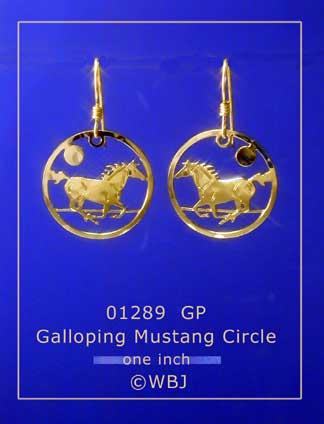 Wild Bryde Galloping Mustang Circle Earrings