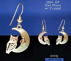 Wild Bryde Owl Moon Crystal Earrings