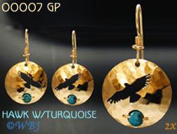 Wild Bryde Hawk with Turquoise Earrings