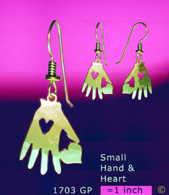 Small Hand Heart Earrings
