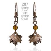 Wild Bryde Maple Leaf Amber Earrings