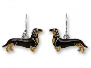 Zarlite Black and Tan Dachshund Earrings