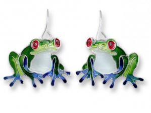 Zarlite Blue-Toed Frog Earrings