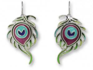 Zarlite Peacock Feather Earrings