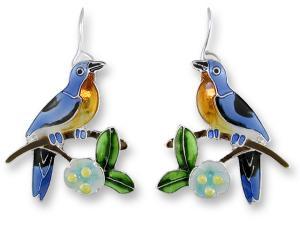 Zarlite Bluebird and Dogwood Earrings