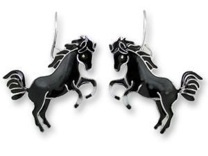 Zarlite Black Horse Earrings
