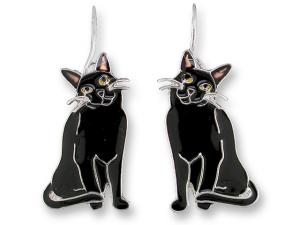 Zarlite Black Kitty Earrings