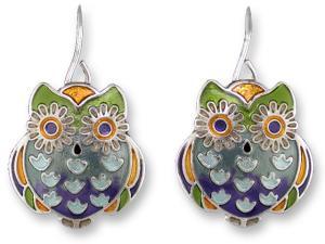 Zarlite Wide-Eyed Owl Earrings
